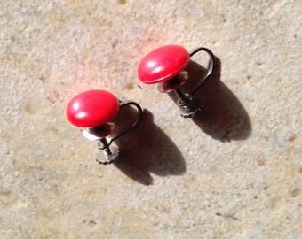Red Lucite Dot Earrings