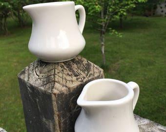 Vintage White Homer Laughlin Creamer--White Ironstone Syrup Pitcher--Restaurant Ware--Retro Kitchenware--Farmhouse Kitchen--My Vintage Home