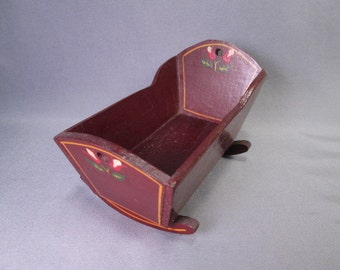 Vintage Pennsylvania Dutch Style Cradle for Small Dolls - Red Lacquer with Hand Painted Designs