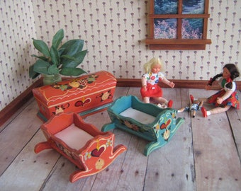 Vintage Miniature Dora Kuhn Bedroom Pieces- Two Cradles and Hope Chest or Toy Chest