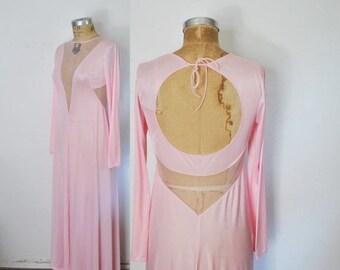 50% OFF Unique CUTOUT Pink Long Nightgown / Lingerie Dress / S-M