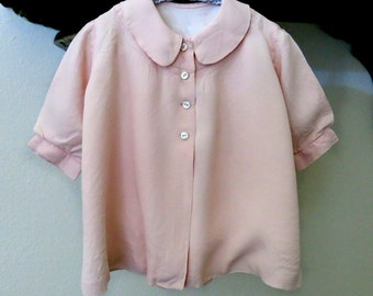 Girl Baby Toddler Coat Vintage 1940s 50s Light Pink Rayon with Taffeta Lining Peter Pan Collar