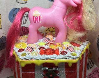 Butter Pop Popcorn My Little Pony Decoden Jewlery Box Deco Trinket Pink Red Yellow Icing Ice Cream