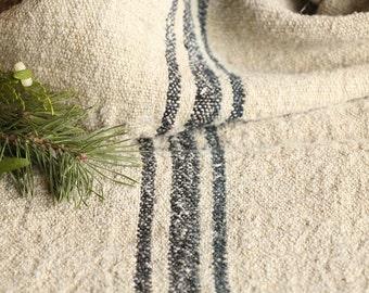 B 771 B: antique handloomed rarely BLACK 리넨 grain sack for pillows cushions runners 43.31 inches long