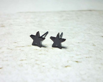 Black Star Stud Earrings, Dainty Earrings