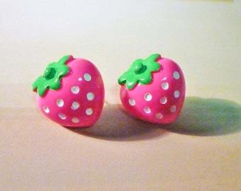 SALE - Big Strawberry Stud Earrings