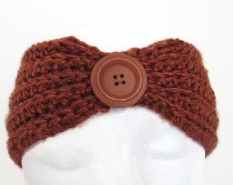 Crochet Ear Warmer - Ladies' Rust Ear Warmer - Women's Brown Ear Warmer - Crocheted Rust Ear Warmer - Crochet Headband
