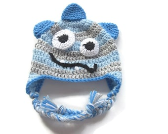 Ready To Ship - Crochet Monster Hat - Monster Earflap Baby Hat - Size 9  to 12 Months - Crochet Blue and Gray Baby Boy Hat
