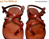 20% OFF Brown Triple Leather Sandals for Men & Women - Handmade Unisex Sandals, Flip Flop Sandals, Jesus Sandals, Genuine Leather Sandals