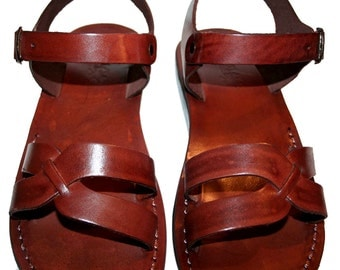 CLEARANCE SALE - Brown Circle Leather Sandals for Men & Women - EURO # 40 - Handmade Unisex Sandals, Genuine Leather Sandals, Sale