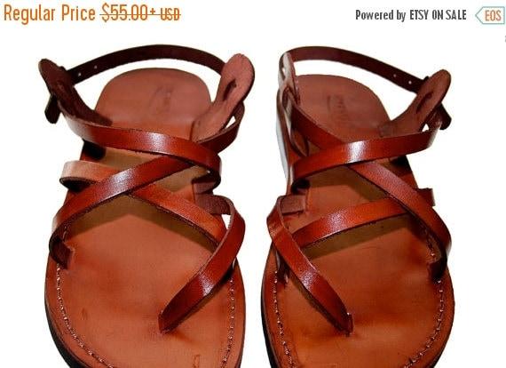 20% OFF Brown Triple Leather Sandals for Men & Women - Handmade Unisex Sandals, Flip Flop Sandals, Jesus Sandals, Genuine Leather Sandals