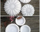 3 Hazel Atlas Milk Glass Dishes, Farmhouse White, Sunflower or Daisy Pattern, Vintage Country Rustic Cottage Home Decor