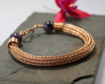 Viking knit bracelet - Double knit Bronze wire and Amechlorite