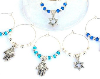 6 Judaica wine charms, silver Hamsas, Star of David, Jewish wine glass charms, Hanukkah wine charms, perfect Hostess gift, Hanukkah gift