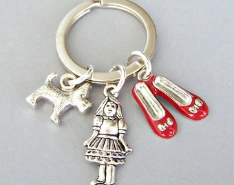 Wizard of Oz keyring, ruby slippers keychain, Dorothy and Toto charms, movie classic, retro gift