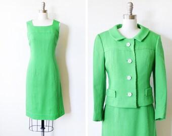 60s dress set, vintage 1960s wool dress with jacket, green dress jacket set, medium
