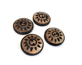 4 Round Bone Button Rustic Sunshine 25mm
