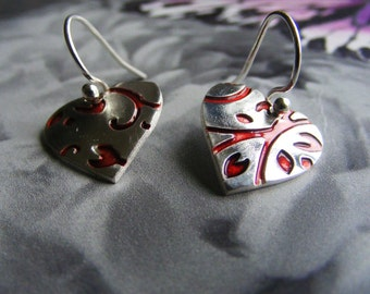 Fine Silver Scroll Print Heart Earrings