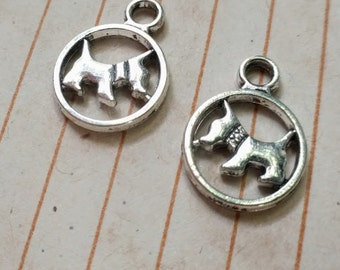 10 scotty dog charms, silver tone, 20mm
