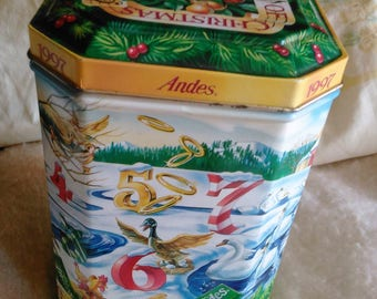 Andes Twelve Days of Christmas Candy Tin Box, Storage Holiday Tin container