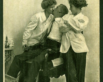 Lady Barbers Flirting with Man in Barber's Chair - Vintage 1910s Postcard