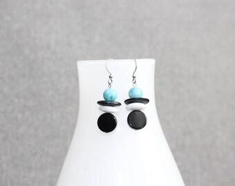 inutchuk earrings, boucles d'oreilles, boucles d'oreilles femme, turquoise, noir, blanc, inuit, totem, inutchuk, femme, art à porter
