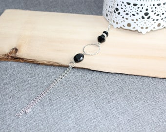 bijoux mode, collier long, bijoux fantaisie, collier, mode jewelry, collier ajustable, noir, cristal, acier inoxydable
