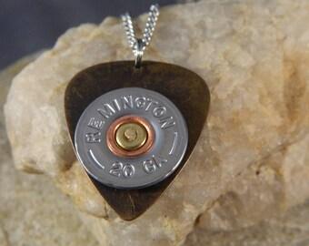 I Pick Hunting Brass Guitar Pick Bullet Necklace