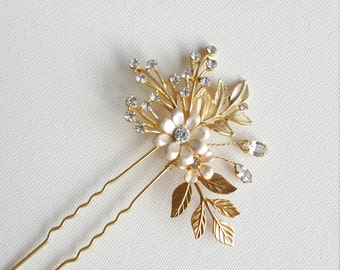 Wedding Hair Pin, Gold Bridal Hair Pin, Gold Leaf Hair Pin, Gold Crystal Hair Pin