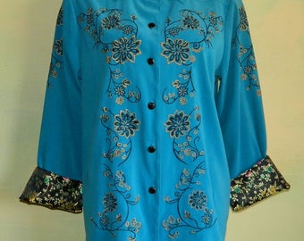 M Victor Costa Occasion Blouse Teal Blue Embroidered Suede Cloth Moleskin Button Front Blouse Black Satin Cuffs