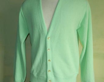 M Vintage 60s 70s Electric Neon Green Button Front Cardigan Sweater JC Penney Mad Men 100% Virgin Orlon Acrylic