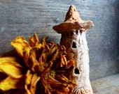 Artisan made ceramic tiny sculpture - Tiny  Skinny Tower - Hand sculpted