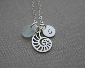 Nautilus Shell Charm Necklace- 925 sterling Silver - Genuine Sea Glass - Sea Life Jewelry - Initial Charm Necklace - Custom made to order