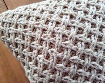 clearance - sale - lattice knit pillow - tan - camel