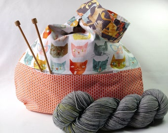 Cat Lover Knitting Crochet Project Bag zippered pocket - Japanese Knot WIP shawl cowl scarf sock bag - orange - free knitting pattern too