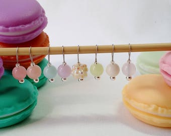 Knitting Stitch Markers in French macaron case - snag free - candy colored acrylic pastel beads set of 8 - two loop sizes available