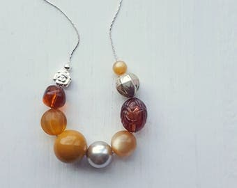 sazerac necklace - remixed vintage beads - whiskey brown silver - cocktail jewelry