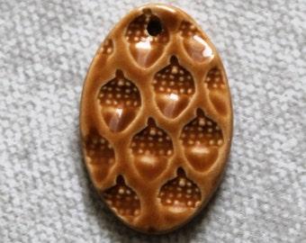 Tan Acorn Pendant - Ceramic Oval Focal Pendant