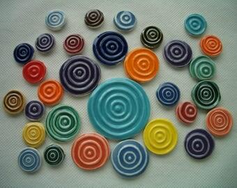 31Go - 31 pc BULL'S Eye Rounds - Ceramic Mosaic Tiles