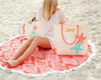 Monogrammed Starfish Beach Bag Personalized Beach tote