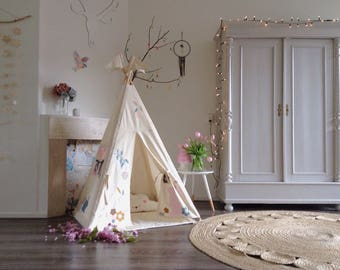 Teepee tent for children | Reg size | Floral teepee tent | with poles and mat | kids teepee | Tipi | play tent | Made to order | Kids Teepee