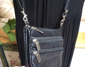Vintage black leather multi pocket crossbody bag, crossbody or waist pack, 5 pockets 4 zippers crossbody or fanny pack, 5 pocket travel bag