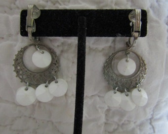 Vintage Clip Earrings Dangle Silver tone and white