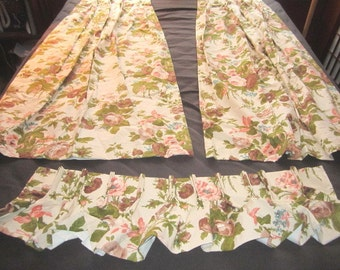 Vintage 1950s/60s Pair of Pleated Lined Cotton Pink and Brown Floral Drapes
