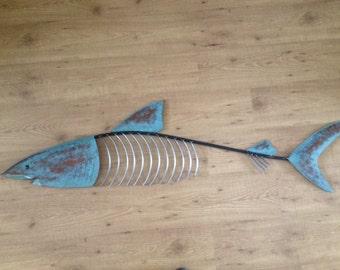 Shark Fish Sculpture 48in Tropical Beach Coastal Metal Art