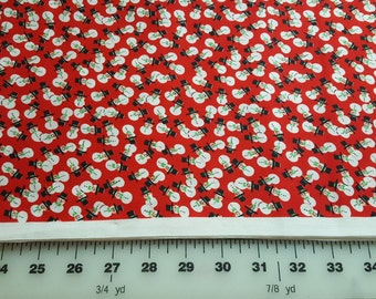 Cotton Snowmen allover Print on red background 3yd