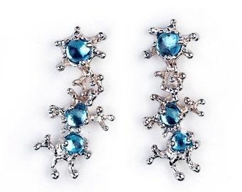 HOLIDAYS SALE - Between The Seaweeds Blue Topaz Earrings, 14k White Gold Earrings, Post Dangle Earrings Gold, Gift for Her, Gemstone Earring