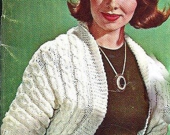 Cable Shrug Sweater Knitting Pattern Vintage 726072