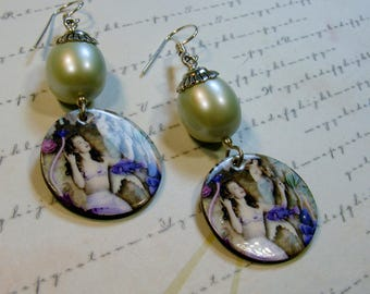 Mermaid Shells with Pearls-decoupage images, pearls, silver, 2 1/2 inches or 6 cm