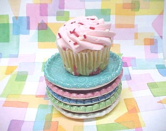 Cute Cupcake Plate or Spoon Rest, Textured Porcelain Dish, Choose Color Turquoise, White, Sage, Light Blue, Pink, Trinket Dish